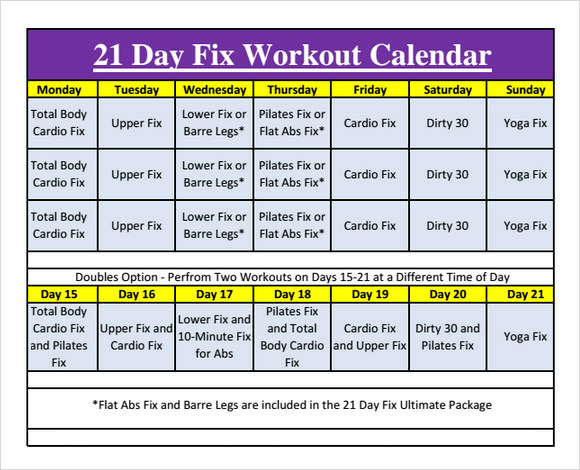 Workout Calendar   Free Samples Examples Format
