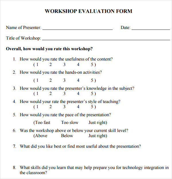 Evaluation Form Examples Sample Board Retreat Evaluation Form