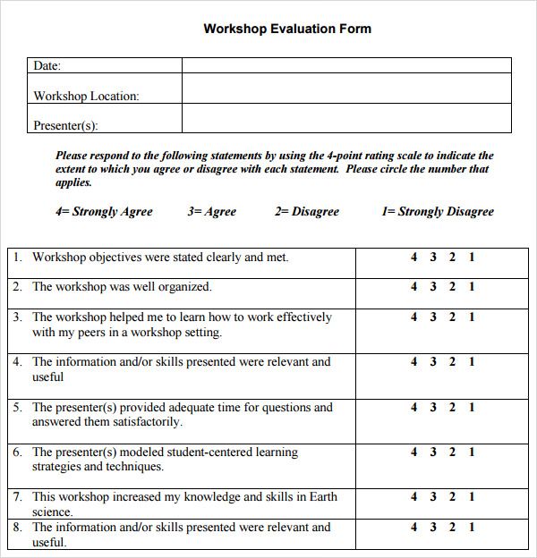 11 sample workshop evaluation forms to download sample for Student feedback form template word