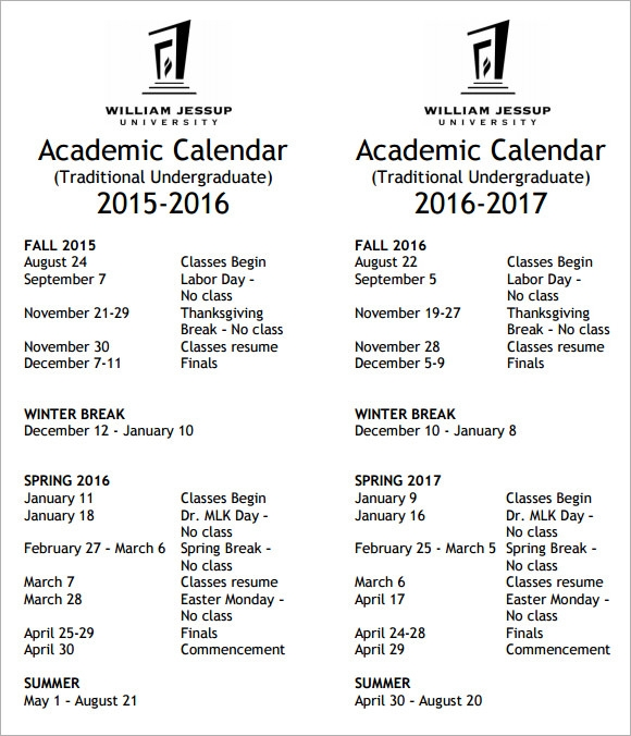 academic calendar pdf