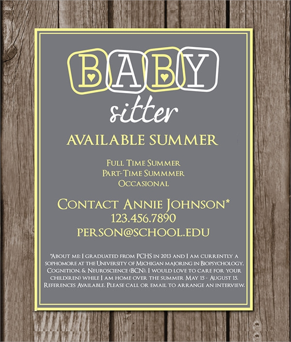 11 babysitting flyers sample templates for Babysitting poster template
