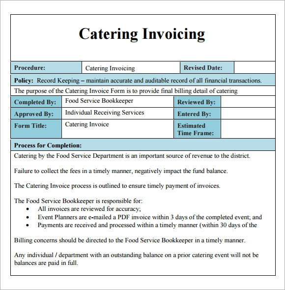 Catering Invoice Template - 10+ Free Download Documents In PDF