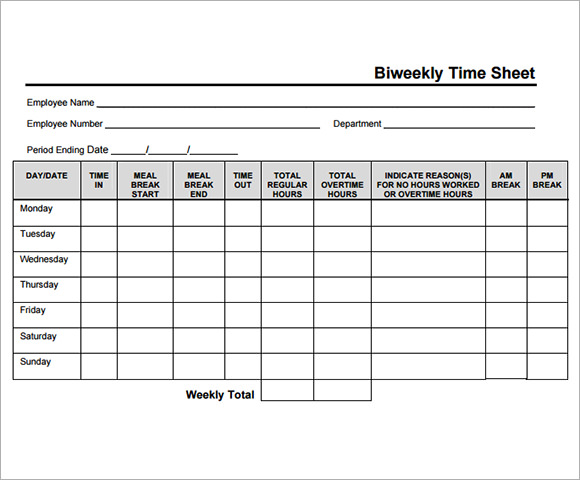 biweekly timesheet template 7 free download for pdf