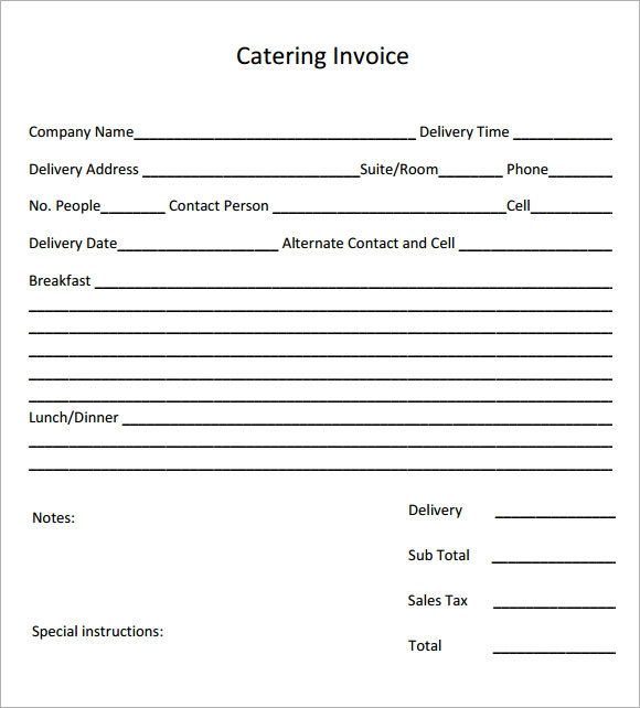 Catering Invoice Sample Documents In PDF - Free invoice template : create blank invoice