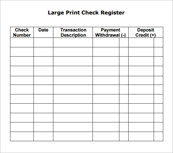 Check Register   Download Free Documents In Pdf