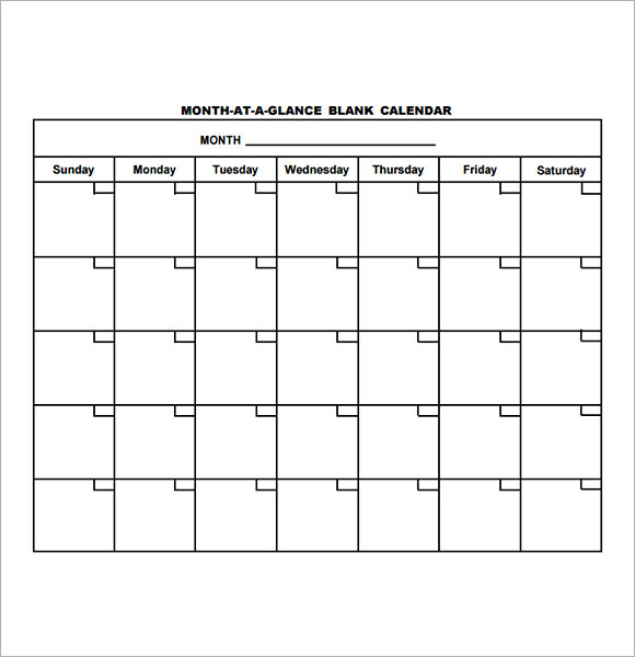 Blank Calendar Template 15 Download Free Docements in PDF – Printable Calendars Sample