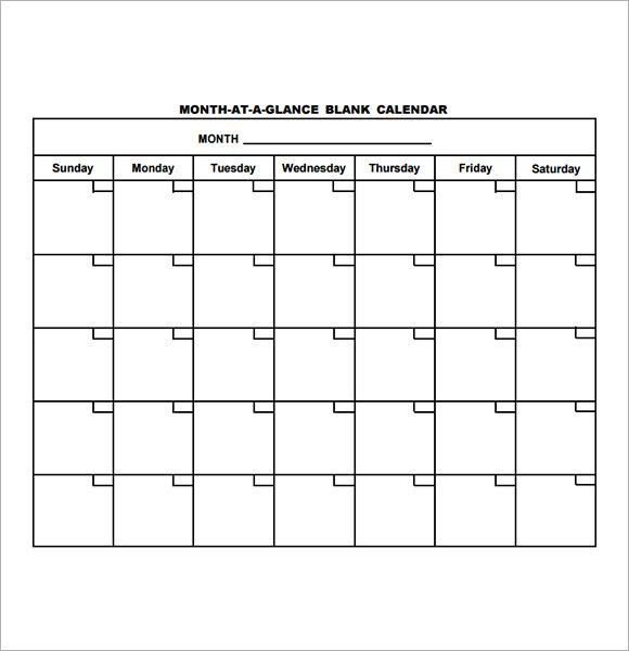 Blank Calendar Template Pdf – Printable Editable Blank