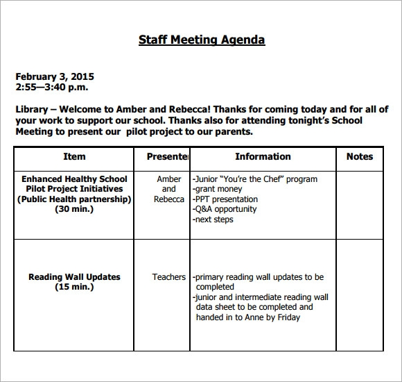 Sample Staff Meeting Agenda 5 Example Format – Team Meeting Agenda Sample