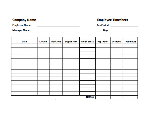 multiple employee weekly timesheet template