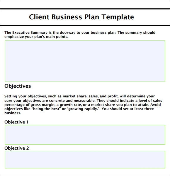 business plan sample template free