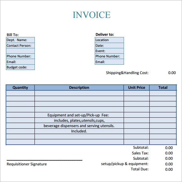 Sample Downloadable Catering Invoice Templates