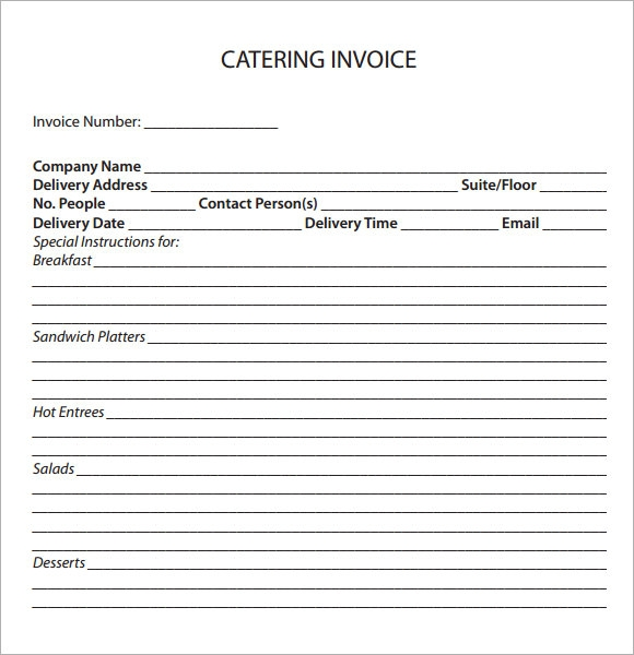 Catering Invoice Sample   Documents In Pdf