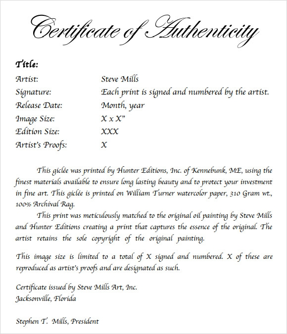 Sample certificate of authenticity template 9 free for Certificate of authenticity template microsoft word