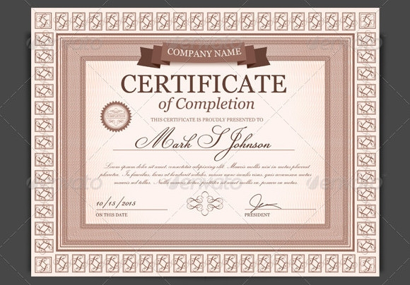 completion certificate template