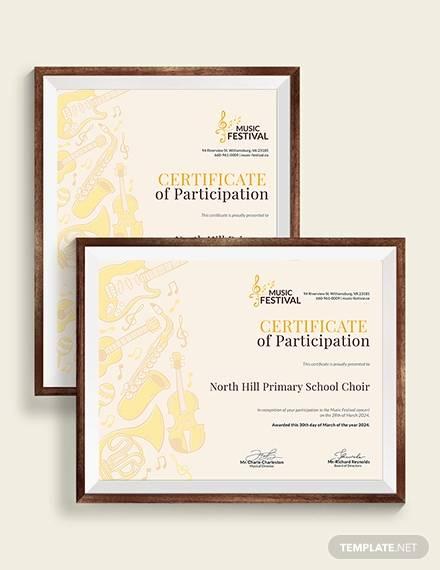 choir certificate