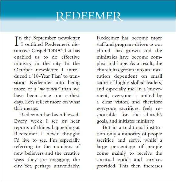 church newsletter example