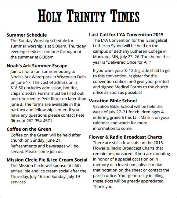 church newsletter sample