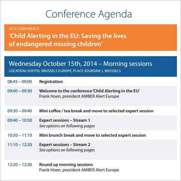 Conference Agenda – 8+ Free Samples , Examples , Format   Sample ...