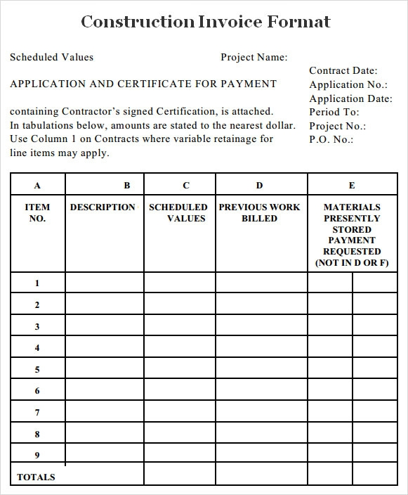 Sample Construction Invoice   Documents In Word Pdf