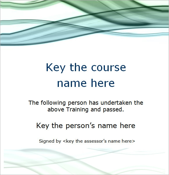Course Training Certificate Template  Certificate Of Training Template