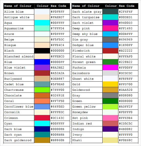 Sample CSS Color Chart – 5+ Documents In PDF, Word