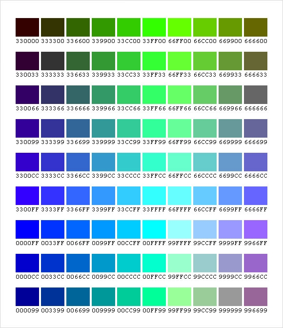 Sample Css Color Chart   Documents In Pdf Word