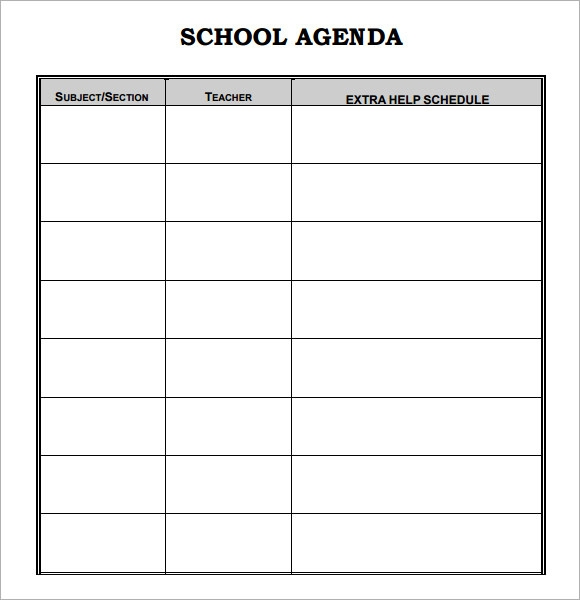 Doc11861561 Sample Student Agenda Student Planner 83 More – Student Agenda Template