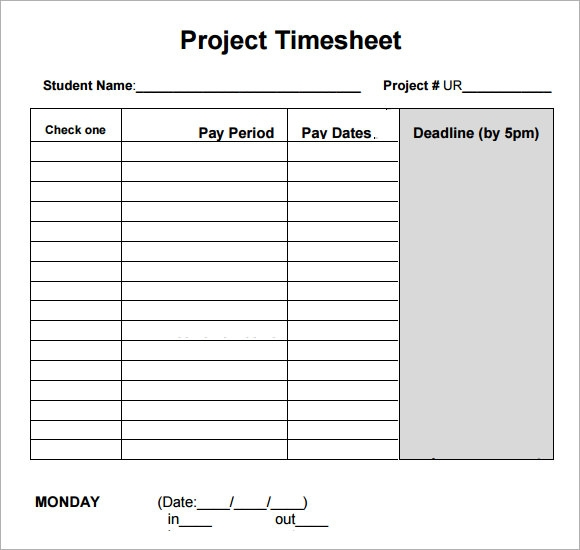 Sample Project Timesheet - 6+ Examples, Format