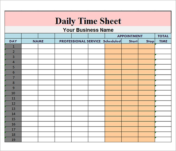 Daily Timesheet Template - 9+ Free Download For Pdf , Excel