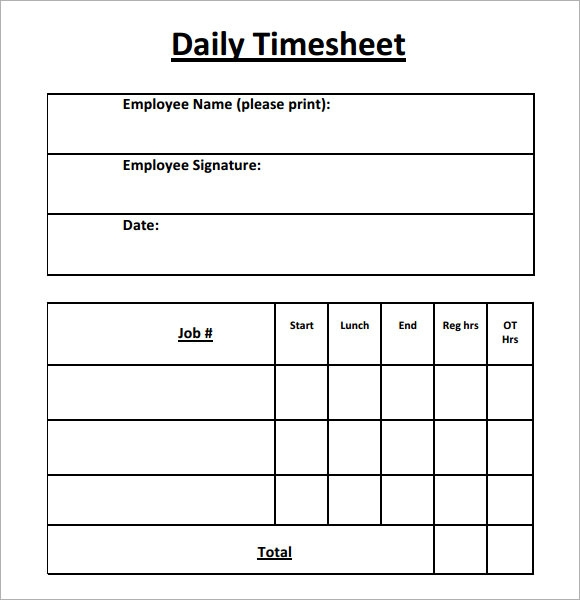 Daily Timesheet Template   Free Download For Pdf  Excel