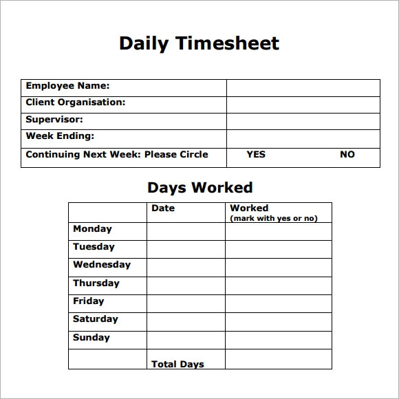 Daily Timesheet Template - 8+ Free Download for PDF , Excel