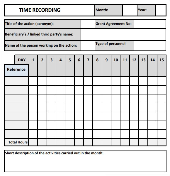 Sample Time Tracking - 7+ Download In Pdf