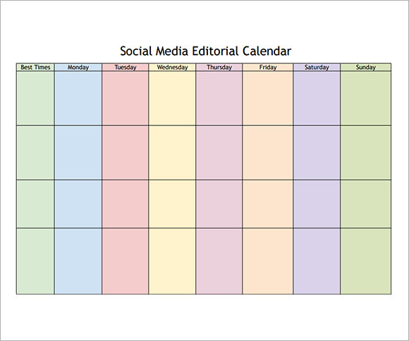 Social Media Calendar Template - 7+ Download Free Documents In Pdf