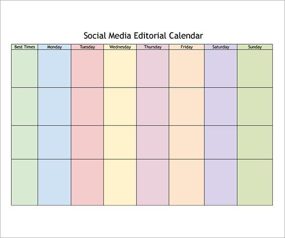 Social Media Calendar Template - 8+ Free Download for PDF | Sample ...