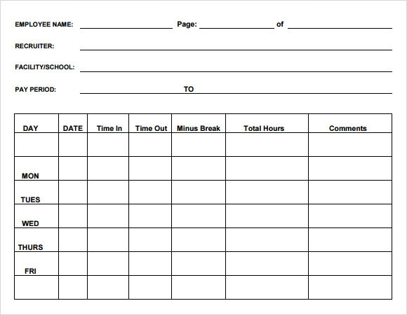 Blank Timesheet Template - 8+ Free Download for PDF