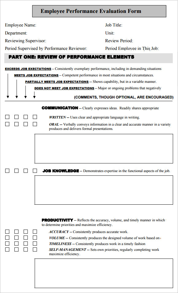 Sample Employee Performance Evaluation Template   Free