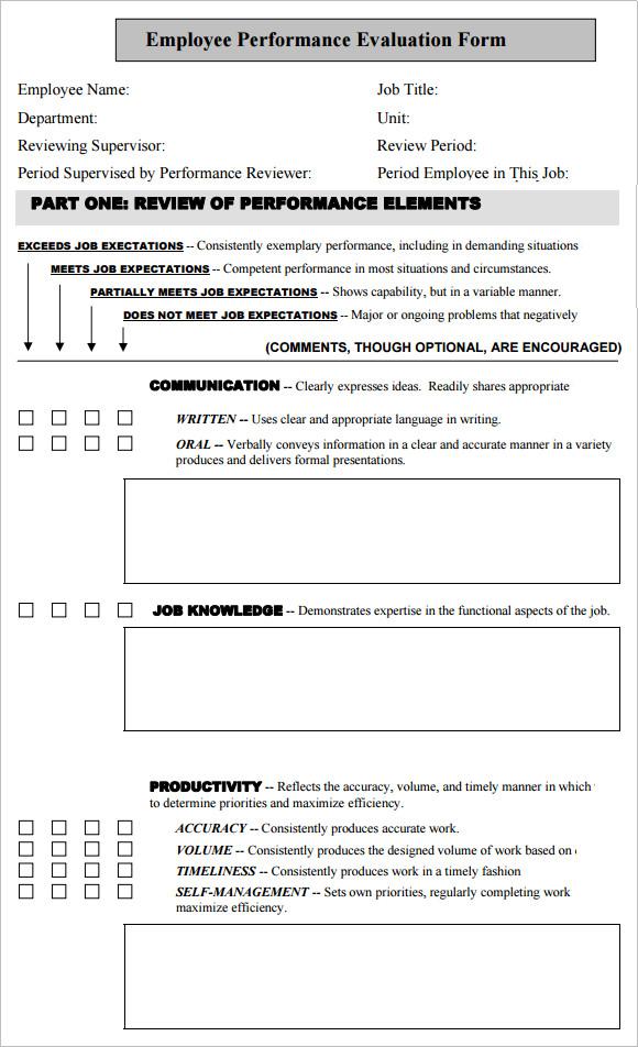 employee performance evaluation template – Performance Sample Evaluation