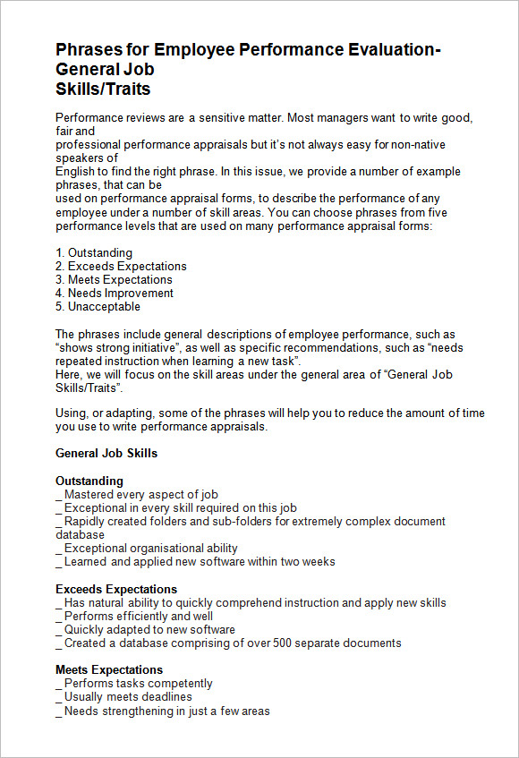 employee-performance-evaluation-phrases Performance Evaluations Wording Examples on evaluation form examples, evaluation phrases examples, evaluation format examples, evaluation paper examples, evaluation writing examples,