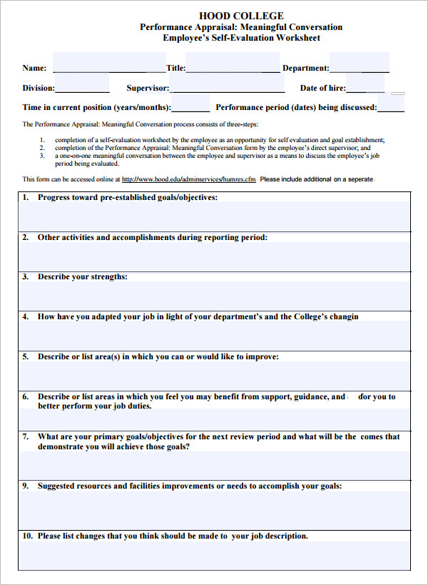Sample Employee Evaluation Template   Free Documents In Pdf Word