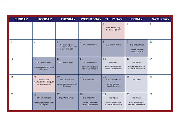 9 sample planning calendar templates to download sample for Sample calendar of events template