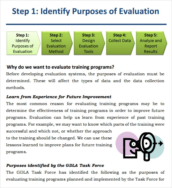 examples of evaluation forms for training