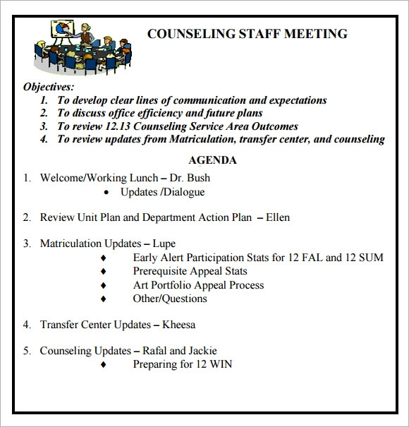 Sample Staff Meeting Agenda 5 Example Format – Samples of Agendas for Meetings