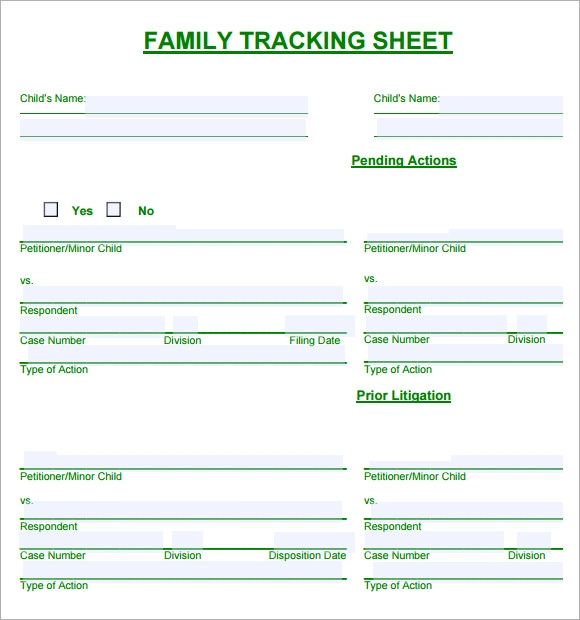 family tracking sheet
