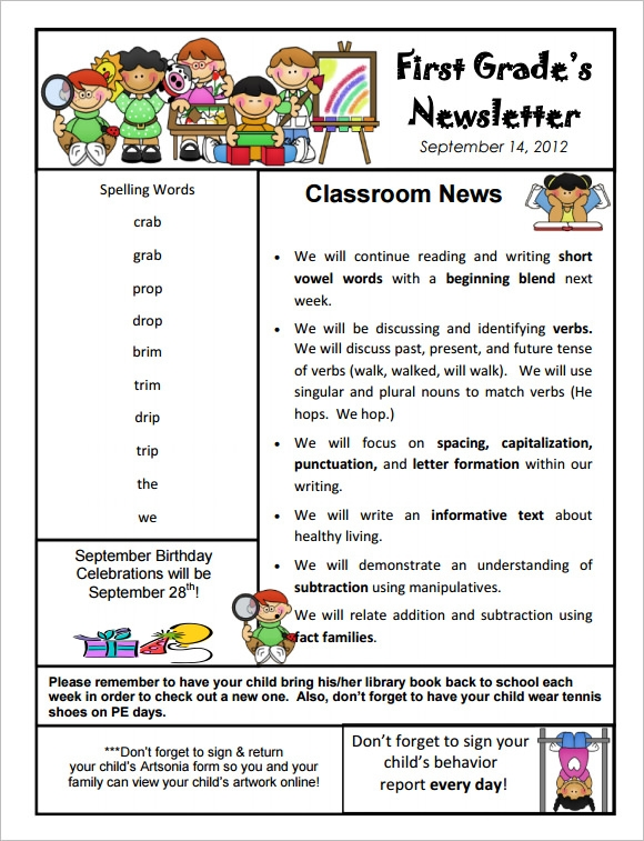 Sample kindergarten newsletter template 15 free for 5th grade newsletter template