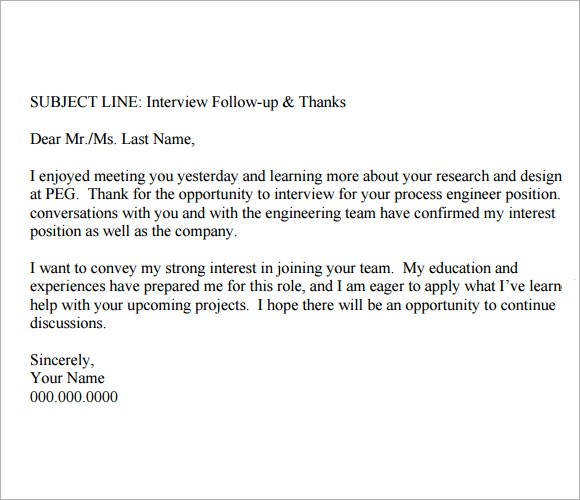 Follow Up Email After Interview Template - 8+ Free Download Documents ...