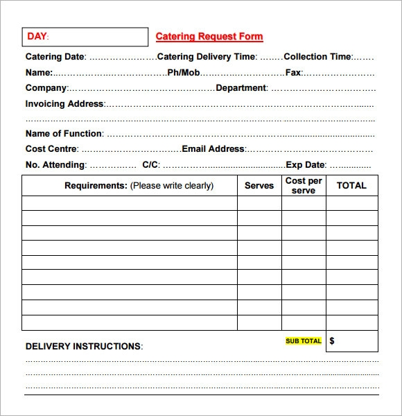 16 catering invoice samples sample templates for Catering contracts templates