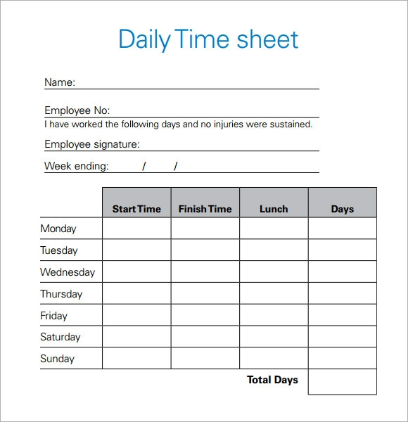 Pretty Daily Time Record Template Images - Resume Ideas