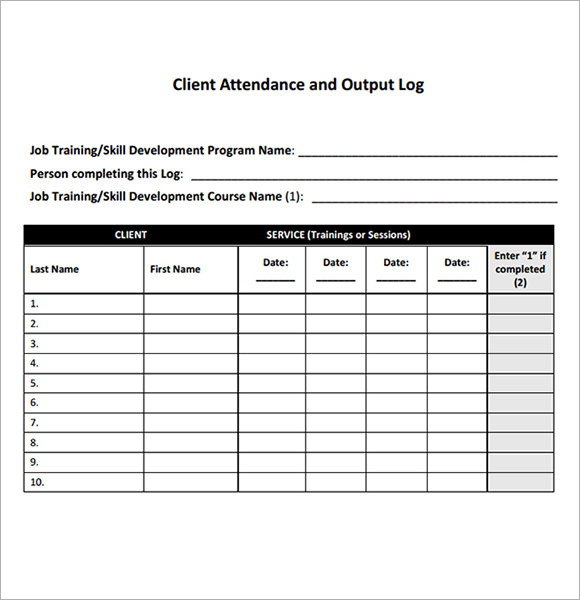 sample attendance tracking 9 free download for pdf