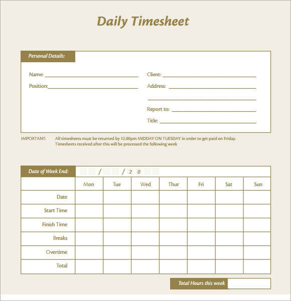 free sample daily timesheet