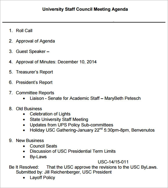 sample staff meeting agenda  u2013 5  example  format